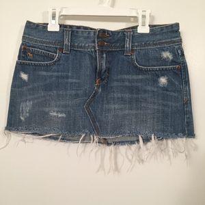 Abercrombie & Fitch Denim Mini Skirt W/Fray Ends